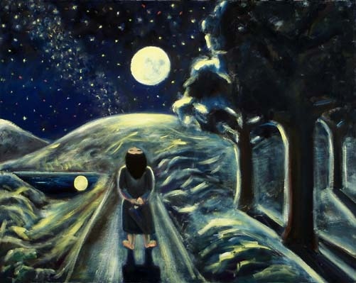 Girl Looking at the Moon